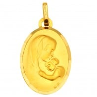 Médaille Vierge à l'enfant Ovale (Or Jaune)