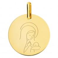Médaille Vierge à l'Enfant Amour Maternel (Or Jaune 9K)