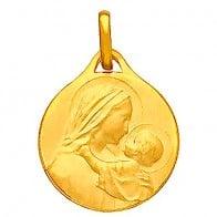 Médaille Vierge à l'enfant profil droit (Or Jaune)
