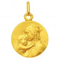 Médaille Vierge à l'enfant de Botticelli 16 mm (Or Jaune)