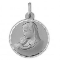Médaille Vierge à l'enfant ciselée (Or Blanc 9k)