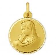 Médaille Vierge à l'enfant ciselée (Or Jaune)