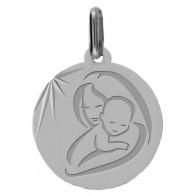 Médaille vierge à l'enfant moderne (Or Blanc)