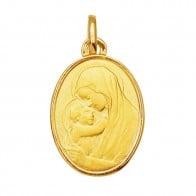 Médaille Vierge à l'enfant bord polis (Or Jaune)