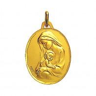 Médaille Vierge maternité profil gauche ciselée 18mm (Or Jaune)