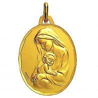 Médaille Vierge maternité profil gauche ciselée 16mm (Or Jaune)