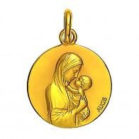 Médaille Augis Vierge à l'enfant profil droit (Or Jaune)