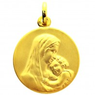 Médaille Vierge à l'Enfant 15mm (or jaune 9k)