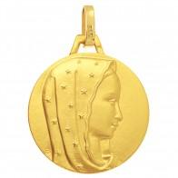 Médaille Vierge au voile étoilé 16mm (Or Jaune)