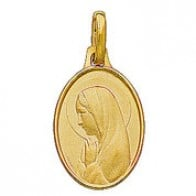 Médaille Vierge Marie en prière ovale (Or Jaune)