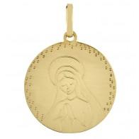Médaille Vierge en prière contour pointillé (Or Jaune)