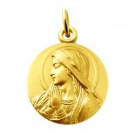 Médaille Vierge en prière auréolée (Or Jaune)