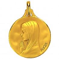 Médaille Augis Vierge aux mains jointes (Or Jaune)