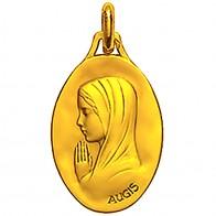 Médaille Vierge mains jointes ovale 20mm (profil gauche) (Or Jaune)