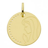 Medaille Jeton vierge en prière (Or Jaune 9k)