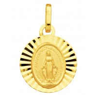 Médaille Vierge Miraculeuse Ensoleillée (Or Jaune)
