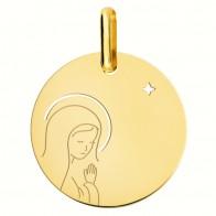 Médaille Vierge en prière à l'étoile (Or Jaune 18K)