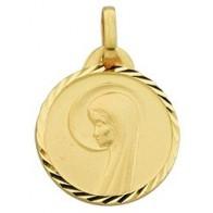 Médaille Vierge au Voile Auréolée (Or Jaune 9k)