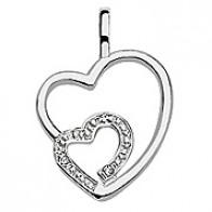 Pendentif 2 coeurs ajourés avec diamants (Or Blanc)