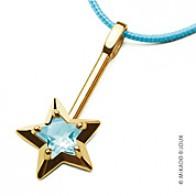 Pendentif Abracadabra topaze bleue (Or Jaune)