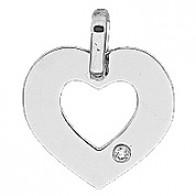 Pendentif Coeur Ajouré avec Diamant (Or Blanc)