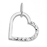 Pendentif coeur Ajouré Lisse Diamanté (Or Blanc)