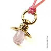 Pendentif tétine Dummy quartz rose (Or Jaune)