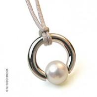 Pendentif Perle Moana (perle blanche d'eau douce) (Or Blanc)