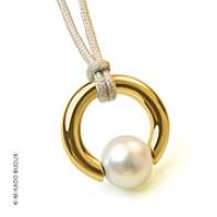 Pendentif Perle Moana (perle blanche d'eau douce) (Or Jaune)