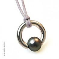Pendentif Perle Moana (perle grise d'eau douce) (Argent)