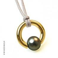 Pendentif Perle Moana (perle grise d'eau douce) (Or Jaune)