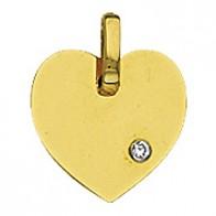 Pendentif Coeur avec Diamant (Or Jaune)