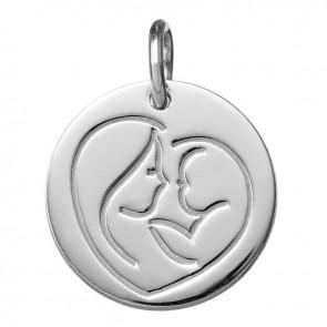 Médaille Coeur de Maman (Or blanc 9K)