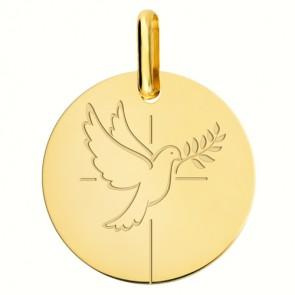 Médaille Colombe au Rameau et croix (Or Jaune 18K)