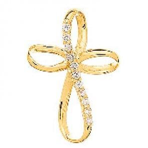 Croix or jaune avec Brillants (Or Jaune 9 carats)