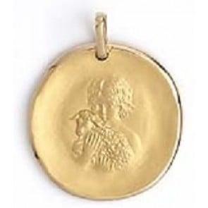 Médaille galet Agneau de Dieu et l'Enfant (Or Jaune 9K)