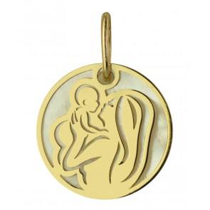 Médaille Maternité Or et Nacre (Or jaune 9K)