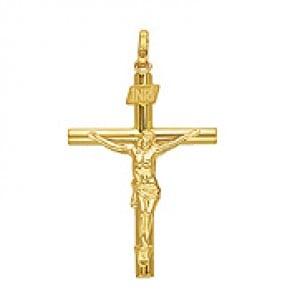 Croix Christ Fil Rond (Or Jaune)