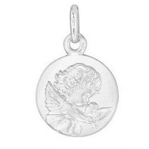 Médaille Ange à la Colombe 14mm (Or Blanc)