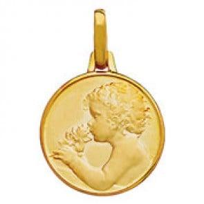 Médaille Ange Chérubin à la rose (Or Jaune)