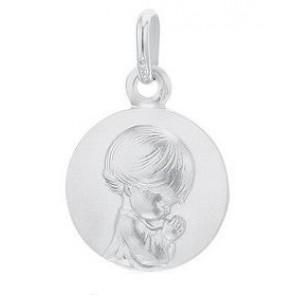 Médaille Ange agenouillé 14mm (Or Blanc)