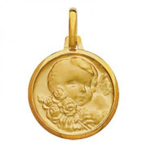 Médaille Ange Chérubin aux roses (Or Jaune)