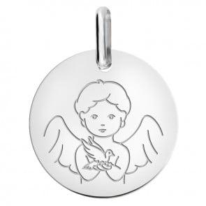 Médaille Ange et la Colombe or blanc 9 carats
