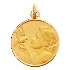 Médaille Ange à la colombe 16mm en or jaune 9 carats - medaille de bapteme