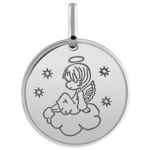 Médaille ange dans les cieux (Or Blanc)
