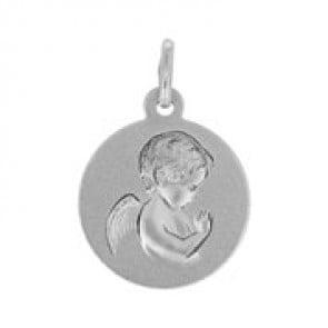 Médaille Ange en prière (Or Blanc)