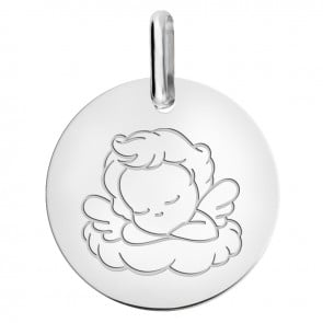 medaille ange endormi or blanc 9 carats