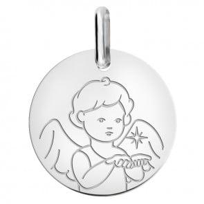 Médaille ange étoile du berger or blanc 9 carats