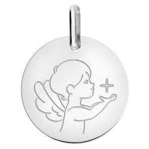 Médaille petit ange à l'étoile or blanc 9 carats