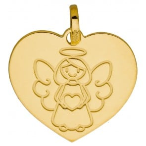 Médaille coeur Ange petite fille (Or Jaune 9K)